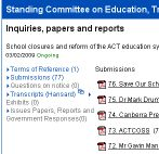 Legislative Assembly inquiry website
